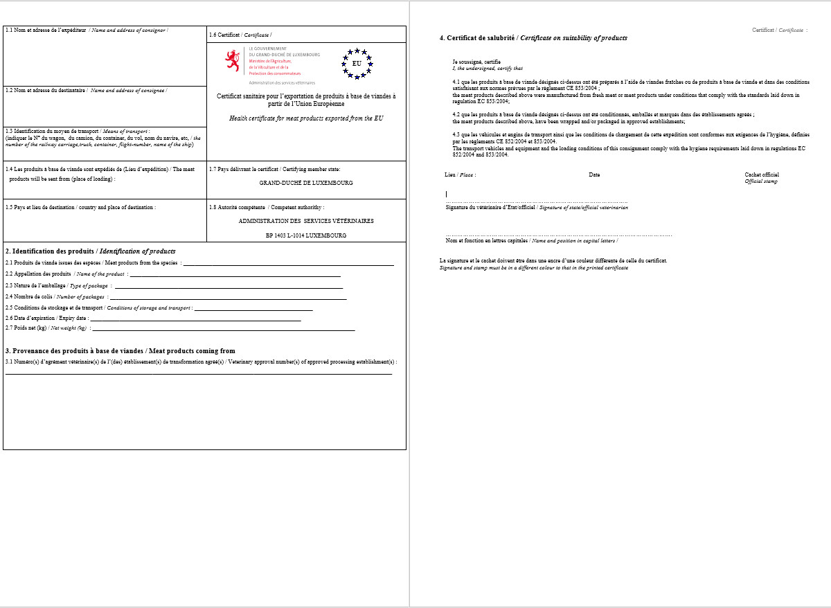 Health Certificate — Single Window for Logistics // Luxembourg
