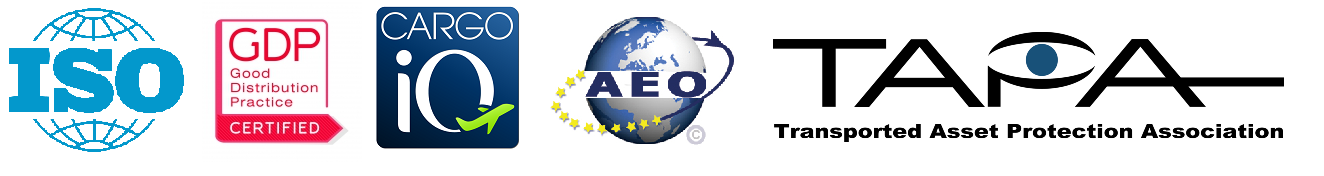 This picture illustrates the logos of the following certifications: iso, GDP, Cargo IQ, AEO, TAPA