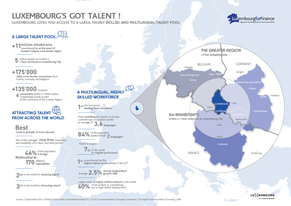 This picture represents an infography showing the caracteristics of the Luxembourg workforce
