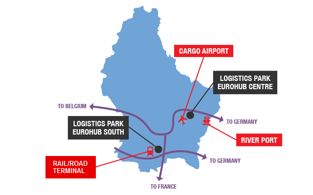 This picture is a map of Luxembourg situating the logistics parks and the logistics infrastructures
