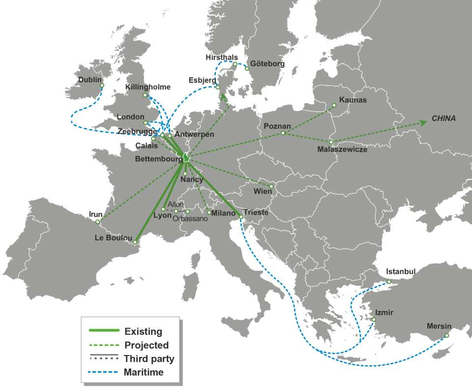 This picture represents a map of Europe with combined rail networks and connections to ports