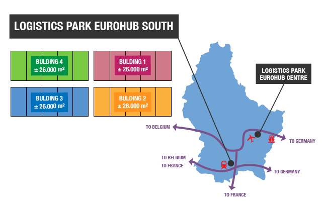 This picture is a map of Luxembourg situating the 2 logisitics parks and giving indications of surfaces to rent